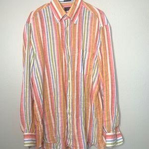 Paul & Shark Linen Pastel Button Down Shirt L